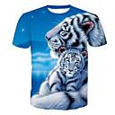 preiswerte Lupen-Herrn Tier - Aktiv T-shirt, Rundhalsausschnitt Druck Tiger / Kurzarm