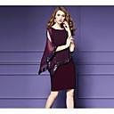 preiswerte Einbauleuchten-Damen Übergrössen Ausgehen Anspruchsvoll Chiffon Kleid - Pailletten, Solide Knielang / Sommer