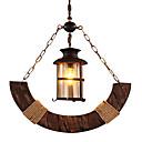 זול בובות פרווה-מנורות תלויות תאורה כלפי מטה עץ / במבוק זכוכית סגנון קטן 110-120V / 220-240V נורה אינה כלולה / E26 / E27