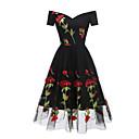 tanie Stroje balowe-Damskie Impreza Podstawowy / Moda miejska Spódnica Sukienka - Kwiaty, Haft Midi Czarno-czerwony