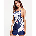 cheap Running Shirts, Pants & Shorts-Women's Floral Daily Street chic Sheath Dress - Floral Blue, Print Strap Summer Royal Blue M L XL / Sexy