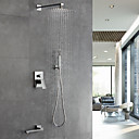 cheap Shower Faucets-Shower Faucet - Contemporary Chrome Wall Mounted Ceramic Valve