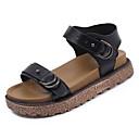 זול מגפי נשים-בגדי ריקוד נשים PU קיץ נוחות סנדלים שטוח בוהן עגולה שחור / צהוב