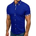 Недорогие LED ленты-Муж. Пэчворк Большие размеры - Рубашка Тонкие Классический Контрастных цветов Темно синий XL / С короткими рукавами / Лето