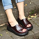 povoljno Ženske sandale-Žene Cipele Koža Ljeto Udobne cipele Sandale Creepersice Kava