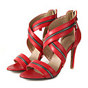 baratos Sandálias Femininas-Mulheres Sapatos Couro Ecológico Verão Plataforma Básica Sandálias Salto Agulha Dedo Aberto Tachas Preto / Vermelho / Rosa claro