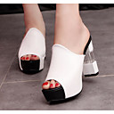 cheap Women's Sandals-Women's Shoes PU(Polyurethane) Summer Comfort Sandals Chunky Heel White / Black / Red