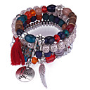 cheap Bracelets-Tassel Stack Charm Bracelet Strand Bracelet - Feather European, Ethnic, Fashion Bracelet Dark Blue / Gray / Red For Daily