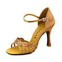 cheap Latin Shoes-Women's Latin Shoes / Ballroom Shoes / Salsa Shoes Satin Sandal Buckle Customized Heel Customizable Dance Shoes Yellow / Fuchsia / Purple
