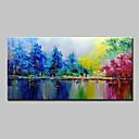 abordables Peintures de Paysages-Peinture à l'huile Hang-peint Peint à la main - Abstrait Paysage Moderne Inclure cadre intérieur / Toile tendue