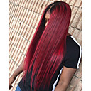 cheap Synthetic Lace Wigs-Synthetic Lace Front Wig Straight Burgundy Middle Part 150% Density Synthetic Hair Heat Resistant / Ombre Hair / Natural Hairline Burgundy Wig Women's Long Lace Front Black / Burgundy Modernfairy Hair