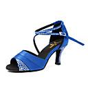 ieftine Pantofi Dans Latin-Pentru femei Pantofi Dans Latin Satin Adidași Detalii Cristal Toc Cubanez Pantofi de dans Negru / Mov / Albastru / Antrenament