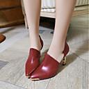 זול מוקסינים לנשים-בגדי ריקוד נשים נעליים PU אביב / קיץ נוחות עקבים עקב סטילטו לבן / שחור / אדום