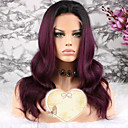 cheap Human Hair Wigs-Remy Human Hair Lace Front Wig Brazilian Hair Wavy Purple Wig Layered Haircut 130% Density with Baby Hair 100% Virgin Purple Women's Short Medium Length Long Human Hair Lace Wig Luckysnow