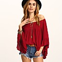 cheap Earrings-Women's Going out Street chic Cotton Loose T-shirt - Solid Colored Pleated / Tassel Boat Neck / Spring / Summer / Sexy