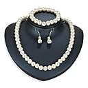 זול סט תכשיטים-בגדי ריקוד נשים סט תכשיטים 1 שרשרת / 1 צמיד / עגילים - אסייתי / פשוט Circle Shape כסף סט תכשיטים עבור יומי / פֶסטִיבָל