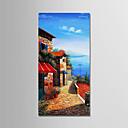 tanie Obrazy olejne-Hang-Malowane obraz olejny Ręcznie malowane - Krajobraz Nowoczesny Naciągnięte płótka / Rozciągnięte płótno