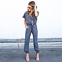 cheap Jewelry Sets-Women's Daily Deep V Blue Black Wine Pencil Loose Jumpsuit, Solid Colored Lace up M L XL Cotton Short Sleeve Summer / Sexy