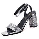 billige Sandaler til damer-Dame Paljett Sommer Komfort Sandaler Tykk hæl Rund Tå Spenne Svart / Sølv