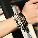 cheap Religious Jewelry-Men's Stack Wrap Bracelet / Leather Bracelet - Leather Ball Simple, Vintage, Gothic Bracelet Rainbow For Daily / Date