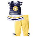 cheap Girls' Dresses-Kids Toddler Girls' Solid Colored Striped Short Sleeves Clothing Set
