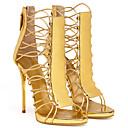 baratos Sandálias Femininas-Mulheres Sapatos Courino Verão Gladiador Sandálias Salto Agulha Ponta Redonda Lantejoulas Dourado / Azul Real / Festas & Noite
