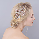 cheap Party Headpieces-Rhinestone Hair Combs with Rhinestone / Flower 1 Piece Wedding / Party / Evening Headpiece