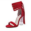 povoljno Ženske sandale-Žene Cipele Brušena koža Ljeto Udobne cipele Sandale Stiletto potpetica Crn / Kava / Crvena