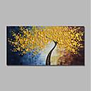 baratos Pinturas Abstratas-styledecor® moderna pintado à mão amarelo flor árvore pintura a óleo da arte da parede na lona envolvida