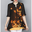 cheap Women's Slip-Ons & Loafers-Women's Loose Blouse - Floral V Neck / Sheer