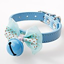 cheap Dog Collars, Harnesses & Leashes-Dogs / Cats / Pets Collar Adjustable / Retractable / Bowknot / With Bell Solid Colored / Polka Dot PU Leather Blue / Pink / Khaki