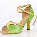 ieftine Pantofi Dans Latin-Pentru femei Pantofi Dans Latin Mătase Călcâi Toc Stilat Pantofi de dans Verde / Performanță / Piele / Antrenament