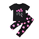 cheap Girls' Clothing Sets-Toddler Girls' Active / Basic Daily / Sports Print Print Short Sleeve Regular Regular Cotton / Polyester Clothing Set Black 2-3 Years(100cm)