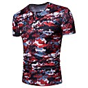 cheap Wall Stickers-Men's Club / Beach Basic Cotton T-shirt - Camouflage Round Neck / Short Sleeve
