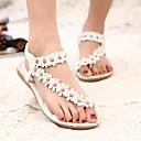 זול סנדלי נשים-בגדי ריקוד נשים PU קיץ נוחות סנדלים שטוח פתוח בבוהן ניטים לבן / ורוד