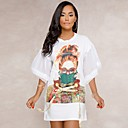 cheap Party Headpieces-Women's Flare Sleeve Daily Flare Sleeve Slim T Shirt Dress - Color Block Lace up Summer White Black L XL XXL / Sexy