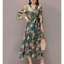 cheap Shoulder Bags-women's going out slim swing dress - floral high waist maxi v neck
