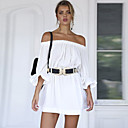 cheap Party Headpieces-Women's Off Shoulder Daily / Going out Flare Sleeve Sheath Dress - Solid Colored Backless Boat Neck Summer Cotton White M L XL / Sexy