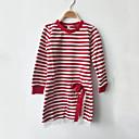 billige Piketopper-Jente Daglig T-skjorte Stripet Lapper Bomull Vår Høst Langermet Striper Sløyfe Blonde Svart Rød