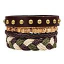 cheap Men's Bracelets-Layered Stack Leather Bracelet - Fashion, Multi Layer Bracelet Brown For Ceremony Street / 4pcs