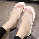 ieftine Tocuri de Damă-Pentru femei Pantofi EVA Vară Confortabili Papuci & Flip-flops Creepers Vârf rotund Piatră Semiprețioasă Alb