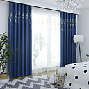 cheap Blackout Curtains-Blackout Curtains Drapes Living Room Floral 100%Polyester Faux Linen Embroidery