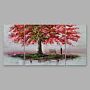 tanie Obrazy: motyw roślinny/botaniczny-Hang-Malowane obraz olejny Ręcznie malowane - Kwiatowy / Roślinny Nowoczesny Naciągnięte płótka / Trzy panele / Rozciągnięte płótno