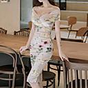 abordables Chanclas yPantuflas de Mujer-Mujer Delgado Pantalones - Geométrico Verde Trébol / Escote Barco / Hombros Caídos / Floral