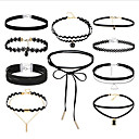 cheap Jewelry Sets-Women's Stackable Choker Necklace / Tattoo Choker - Leather, Lace Vintage, Gothic, Multi Layer Black 36 cm Necklace 10pcs For Gift, Street