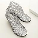 hesapli Latin Dans Ayakkabıları-Kadın's Ayakkabı PVC Yaz Rahat Sandaletler Dolgu Topuk Günlük için Siyah