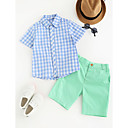 cheap Boys' Clothing Sets-Boys' Other Clothing Set, Cotton Summer Short Sleeves Check Blue Green