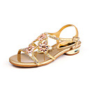 cheap Women's Sandals-Women's Shoes PU(Polyurethane) Spring / Summer Gladiator Sandals Flat Heel Peep Toe Rhinestone / Crystal Gold / Purple / Blue