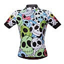 cheap Cycling Jerseys-WOSAWE Men's Short Sleeve Cycling Jersey - Green Skull Bike Jersey, Reflective Strips Mesh 100% Polyester / Stretchy