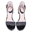 cheap Women's Sandals-Women's Shoes Cowhide Summer Comfort / Basic Pump Sandals Chunky Heel Black / Silver